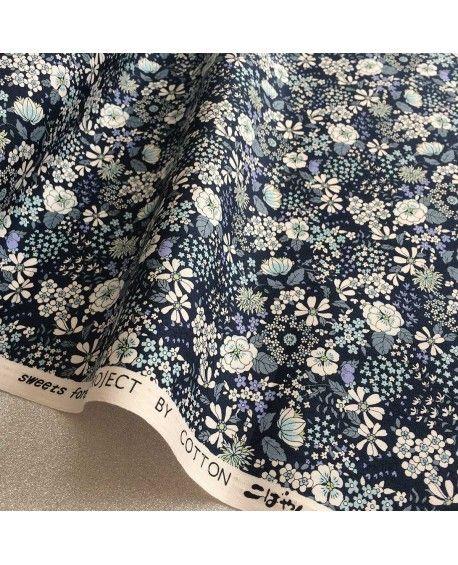 Japansk stof - Blomster - Mørkeblå