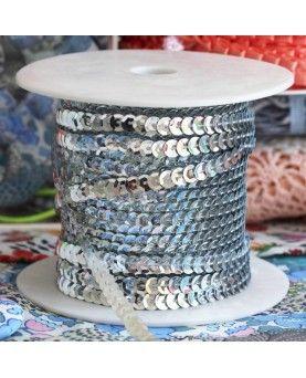 Pailletbånd 6mm sølv