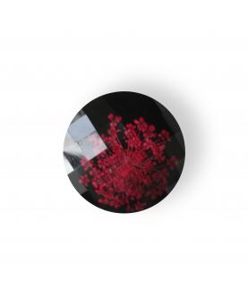 Knap sort ægte blomst 30mm