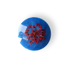 Knap blå ægte blomst 30mm