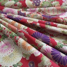 Blomster og vifter - Rød/Pink