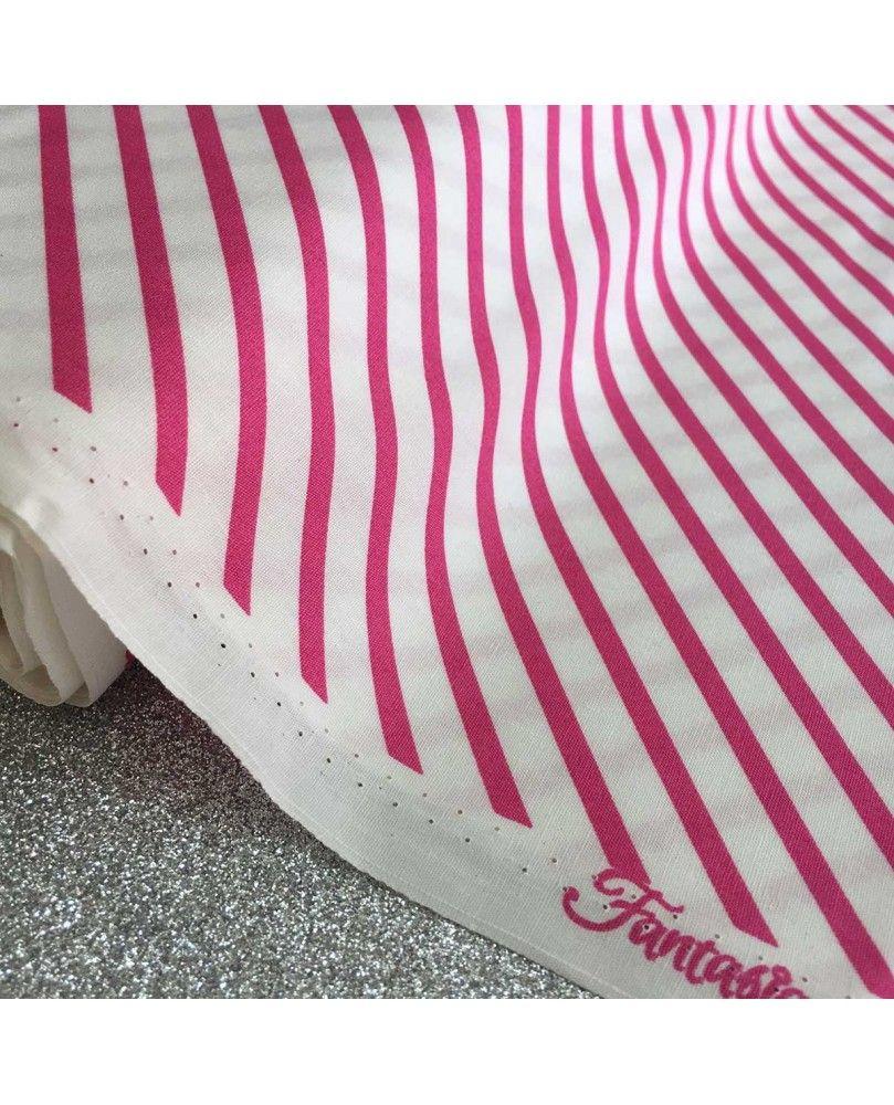 Stribet stof - Pink og hvidt