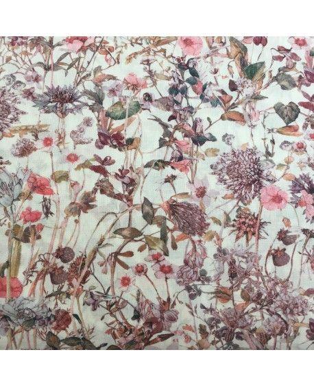 Liberty stof - Wildflowers brun og lyserød