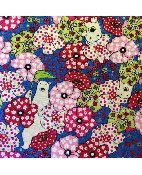 Japansk stof - Polar bears blå