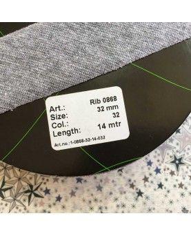 Jersey rib bånd - 32mm grå