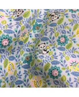 Japansk stof - blomster og pandaer