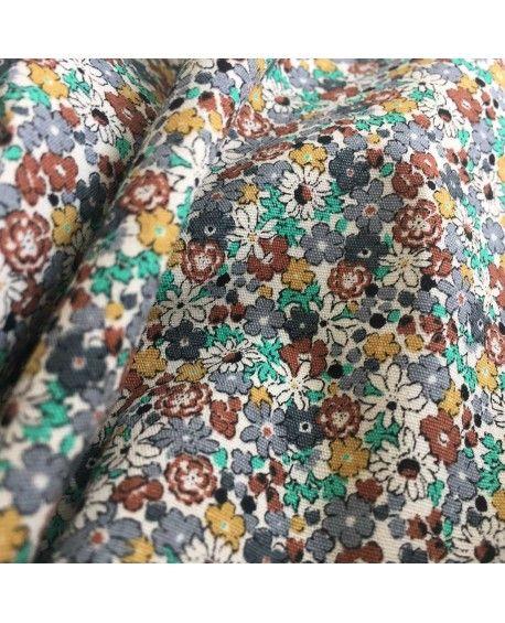 Japansk stof - Små blomster brun