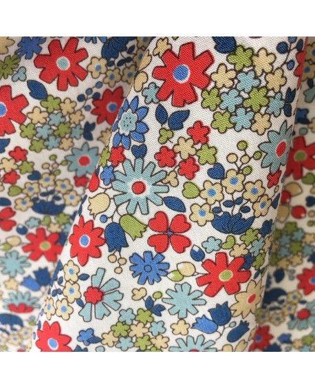 Japansk stof - blomster rød