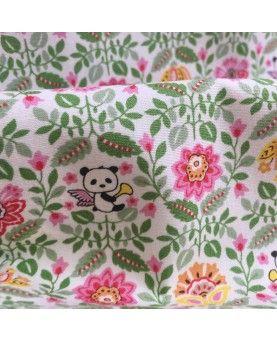 Japansk stof - Pandaer - grøn