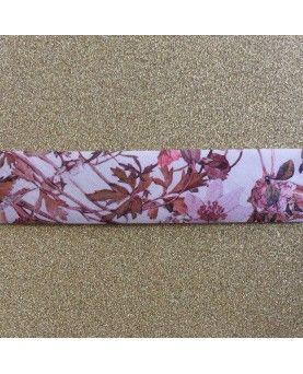 Liberty skråbånd 2 cm - Wildflowers brun og lyserød