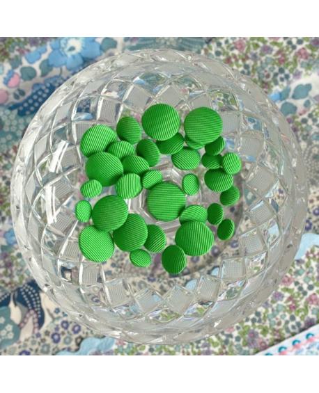 Stofknapper - ensfarvet grøn 11,15 og 20mm