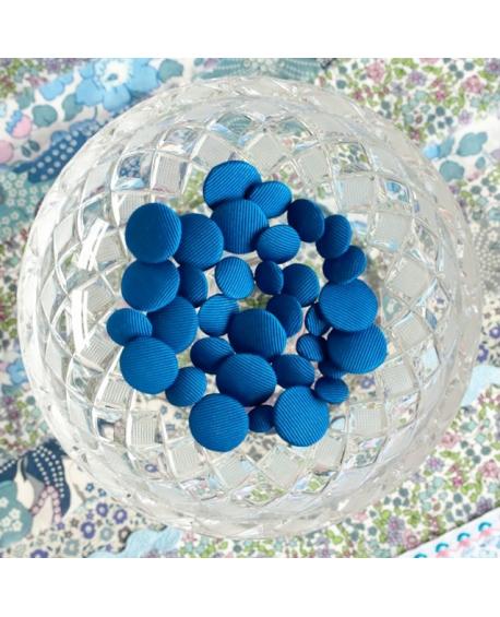 Stofknapper - ensfarvet kobolt blå 11, 15 og 20mm