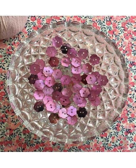 Knapper perlemor blomst lilla 15mm