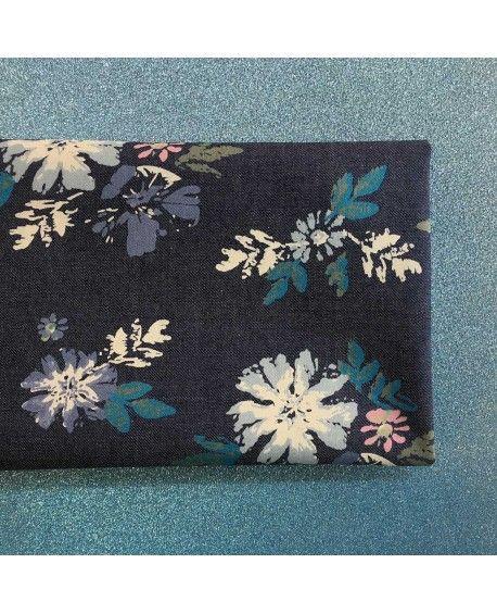Denim stofstykke - 45x65cm - Blomster
