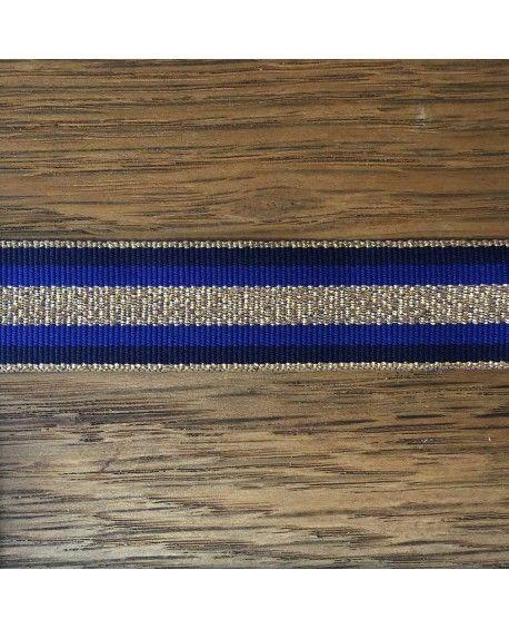 Grosgrain bånd 25mm Blå og Guld