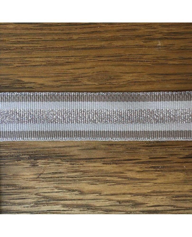 Grosgrain bånd 25mm Sølv, Hvid og Blå