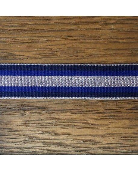 Grosgrain bånd 25mm Sølv og Blå