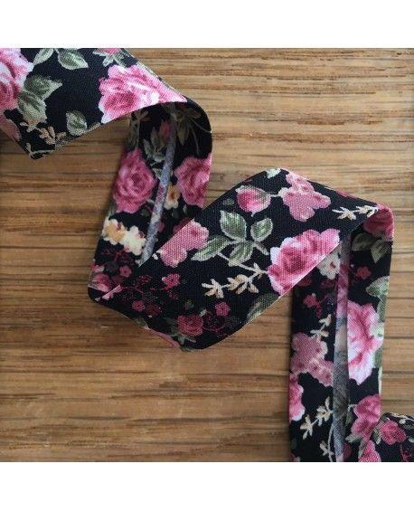 Skråbånd roser - Sort