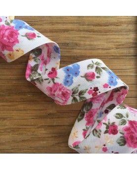 Skråbånd roser - Hvid