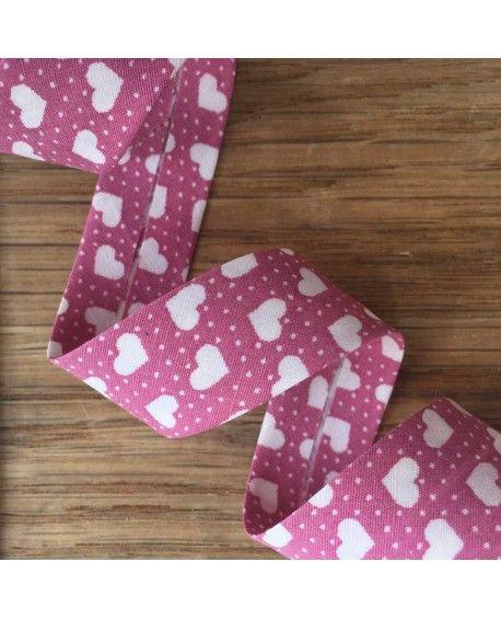 Skråbånd hjerter - Pink