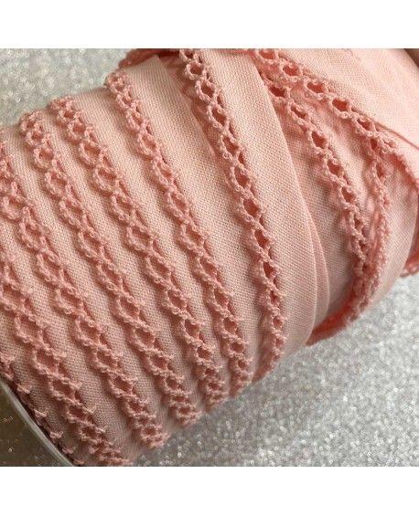 Skråbånd med hæklet kant - Ensfarvet lyserød