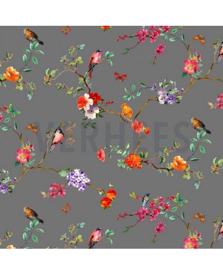 Bomuldsstof Blooming Flowers