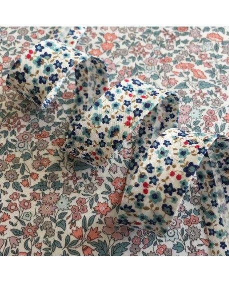 Skråbånd blomster 18mm blå/rød
