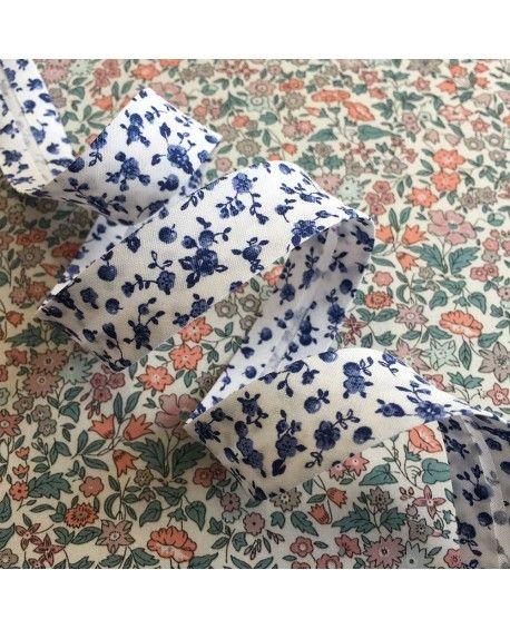Skråbånd blomster 18mm blå