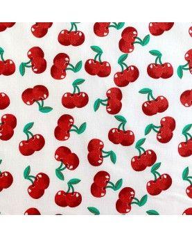 Stof med Kirsebær - hvid