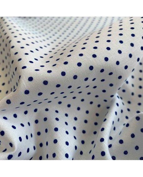 Prikket stof - Hvid & Blå