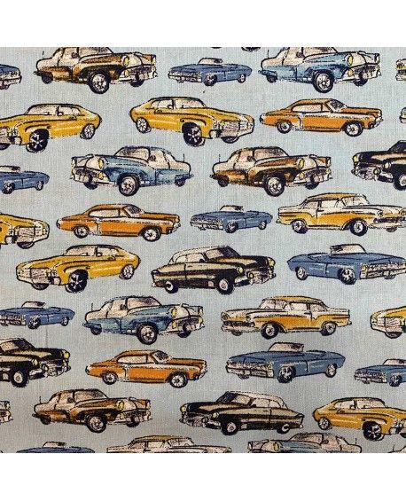 Stof  Retro cars - Lyseblå