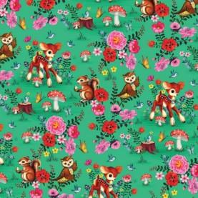 Jersey stof med bambier og blomster