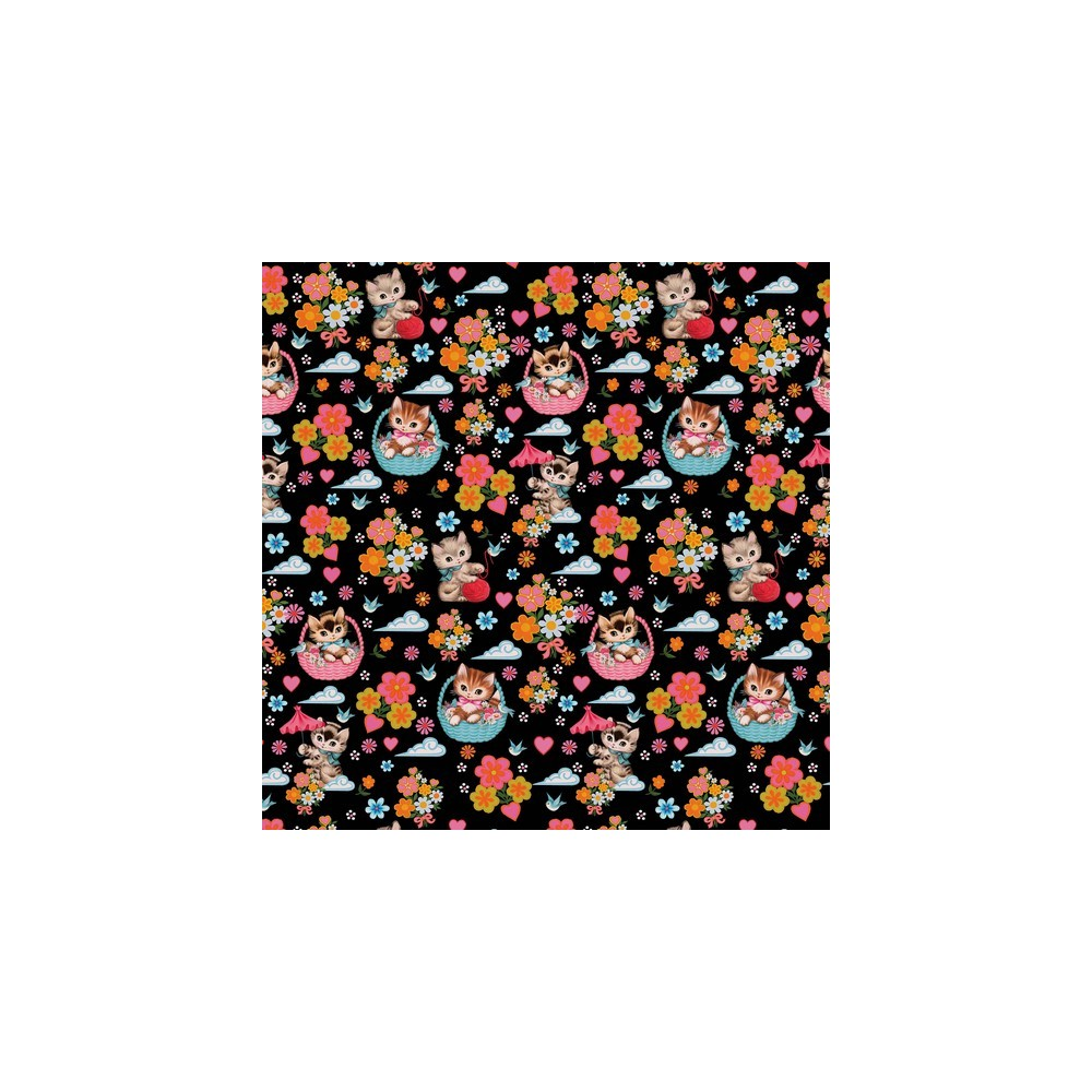 Jersey stof med katte og blomster print