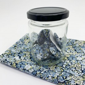 Glas med Liberty stof knapper Chive Blå