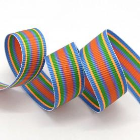 Stribet bånd - 2meter Vævet rebsbånd (grosgrainbånd) stribet