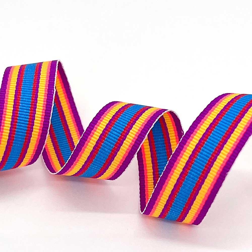 Vævet rebsbånd (grosgrainbånd) stribet grosgrainbånd ribbon Stribet bånd - 2meter