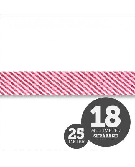 Skråbånd Strib Rød 1rl/25m