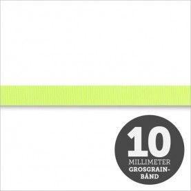 Grosgrain bånd - Neongul 10mm