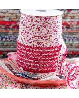 Skråbånd blomstret pink
