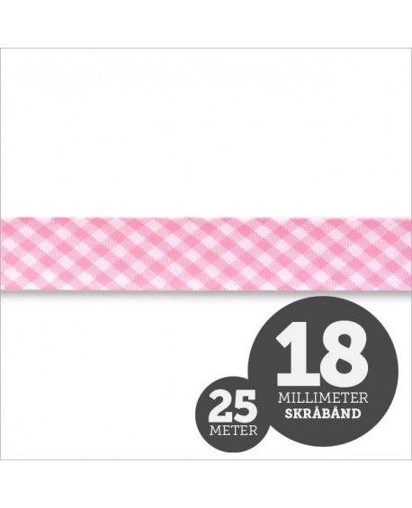 Skråbånd tern lyserød 18mm