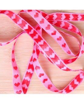 Hjertebånd pink med røde hjerter