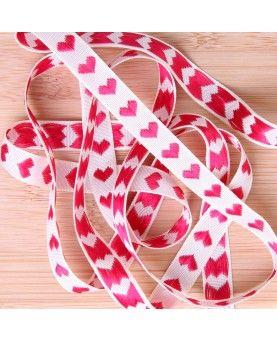 Hjertebånd offwhite med røde hjerter