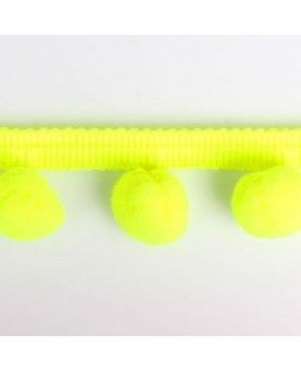 Pompom bånd - neon gul 35mm