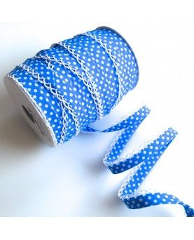 Skråbånd prikket blå