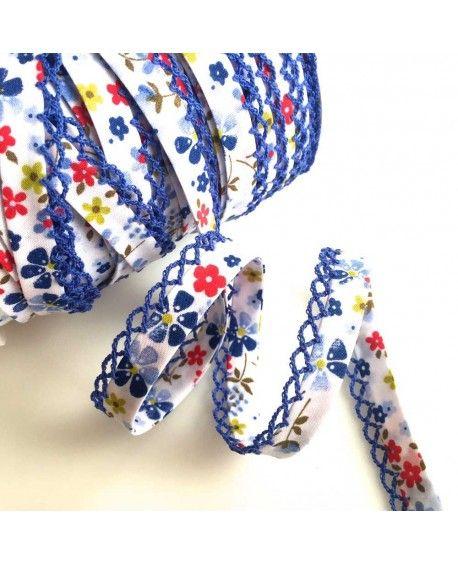 Skråbånd blomstret blå