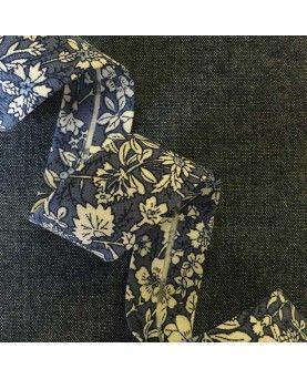 Skråbånd blomstret - Blå - 20mm
