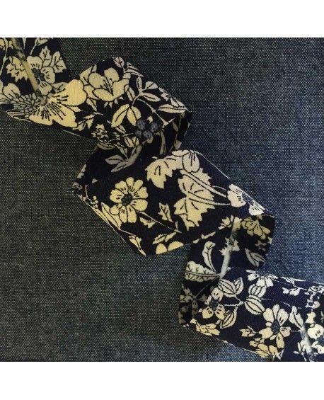 Skråbånd blomstret - Mørkeblå - 20mm