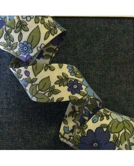 Skråbånd blomstret - Blå/grøn - 20mm