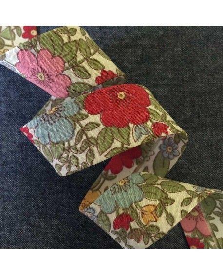 Skråbånd blomstret - Rød - 20mm