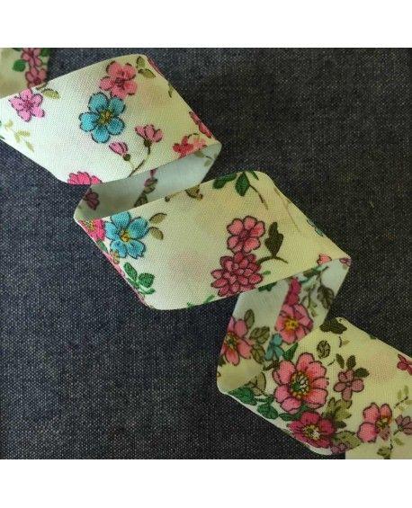 Skråbånd blomstret - Lysegrøn - 20mm